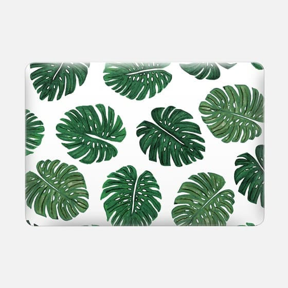 Tropical Green Watercolor Painted  Swiss Cheese Plant Leaves  -