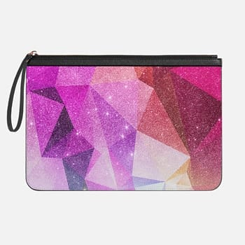 Tech Clutch - Medium  Pretty Girly Red, Pink, and Purple Abstract Faux Printed Glitter Geometric Triangles Pattern
