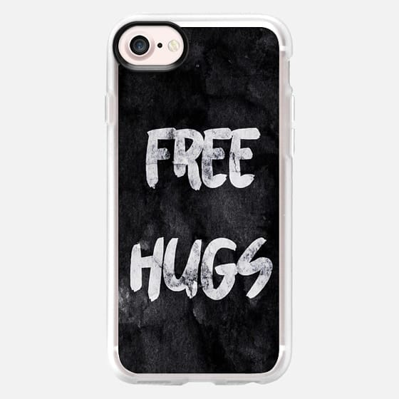 Free Hugs Black Modern Brushstroke Typography on Grunge Paint - Classic Grip Case