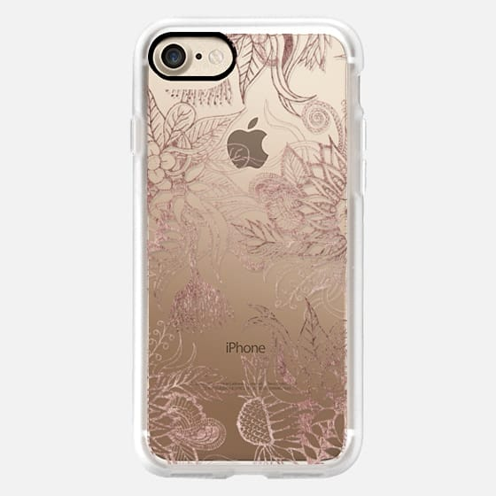 Glamorous Faux Rose Gold Floral and Leaves -