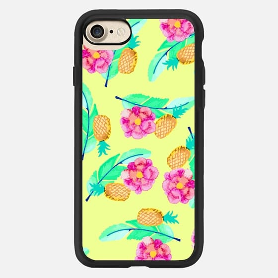 Modern Flower Pineapple Foliage Colorful Pattern -