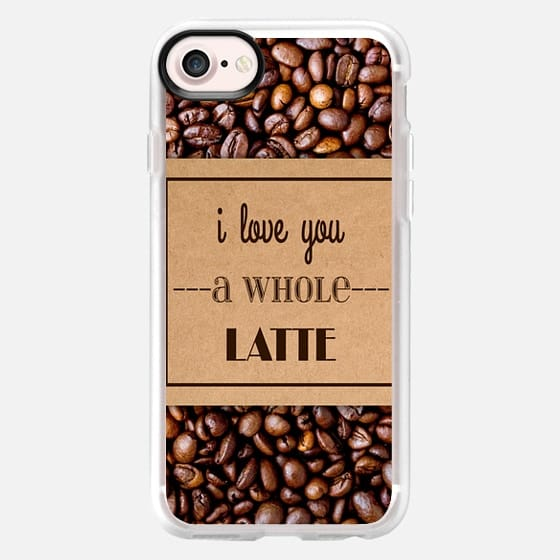 """I Love You a Whole Latte"" Typography on Cardboard Coffee Cup Sleeve & Coffee Beans - Classic Grip Case"