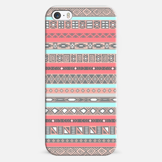 Peach Ice Aztec Tribal Pattern Design -