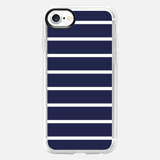 Navy and Thin White Stripes Pattern -