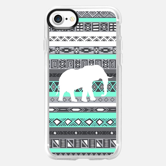 Mint Tiffany Aztec Pattern Elephant Print iPhone 6 Case - Wallet Case