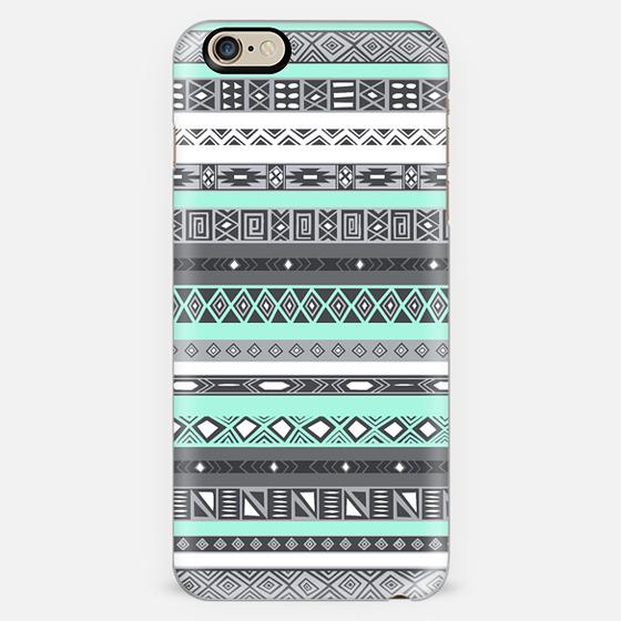 Pastel Mint / Pale Turquoise Aztec Pattern Design -