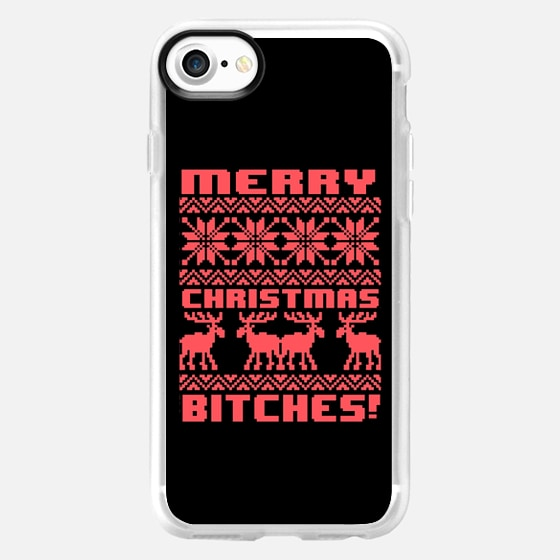 Merry Christmas Bitches 8-Bit Black Vintage Ugly Holiday Sweater Design - Wallet Case