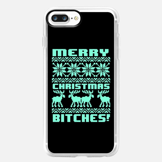 Merry Christmas Bitches 8-Bit Black Tiffany Turquoise Mint Vintage Ugly Holiday Sweater Design -