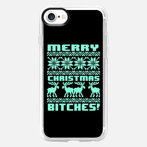 Merry Christmas Bitches 8-Bit Black Tiffany Turquoise Mint Vintage Ugly Holiday Sweater Design - Wallet Case