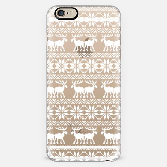 White Transparent Ugly Xmas Holiday Sweater 8-Bit Moose Pattern -