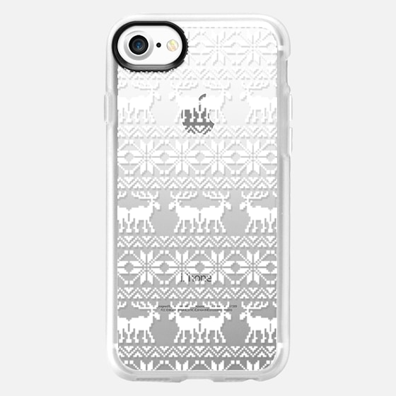 White Transparent Ugly Xmas Holiday Sweater 8-Bit Moose Pattern - Wallet Case