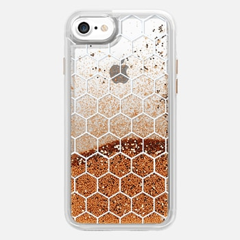 iPhone 7 ケース White Honeycomb Transparent Pattern