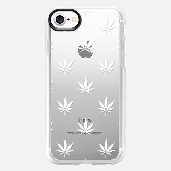 White Cannabis Pattern Transparent - Wallet Case