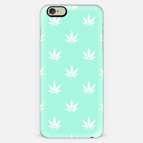 Turquoise Mermaid Mint Cannabis Pot Leaf Pattern -