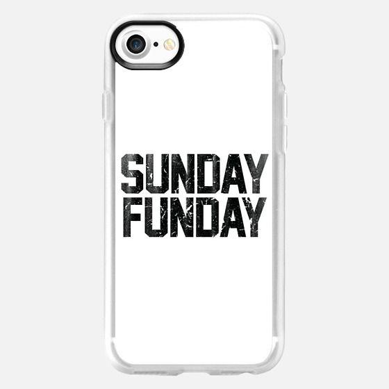 Sunday Funday Dirty Vintage Varsity Typography Print White -