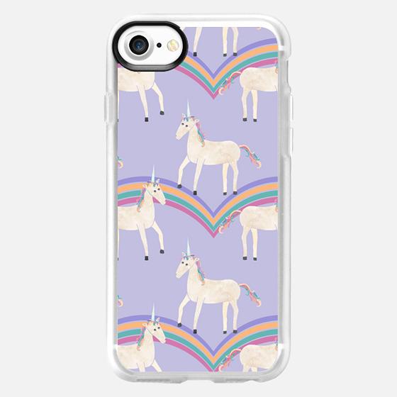 Unicorns & Rainbows on Pastel Purple - Wallet Case