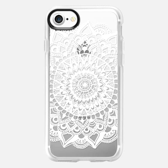 White Tribal Lace Mandala on Clear - Classic Grip Case