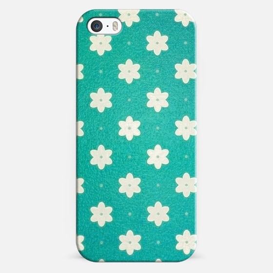 white flowers on turquoise - Classic Snap Case