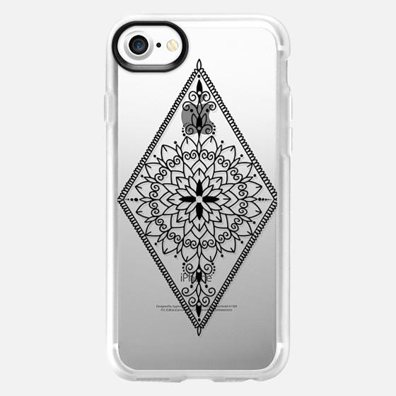 Intricate Black Henna Inspired Mandala Diamond Design - Wallet Case