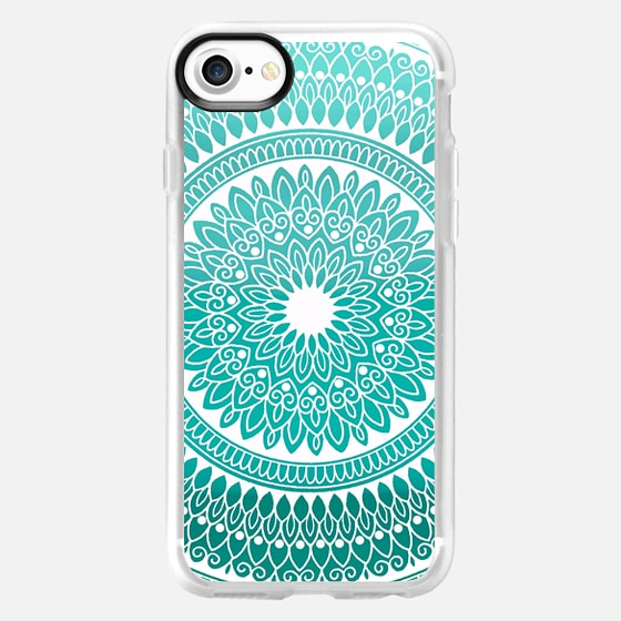 Teal And White Hand Drawn Intricate Lace Mandala - Classic Grip Case