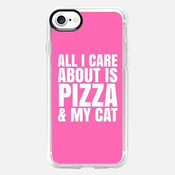 ALL I CARE ABOUT IS PIZZA & MY CAT (Pink) - Wallet Case