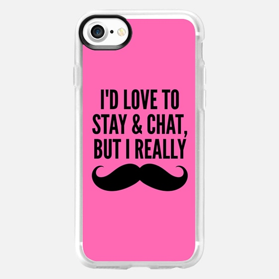 I'd Love to Stay and Chat, But I Really Mustache Must Dash (Hot Pink) - Wallet Case
