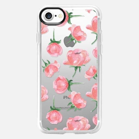 Watercolor pink flowers. Delicate painted pattern - Wallet Case