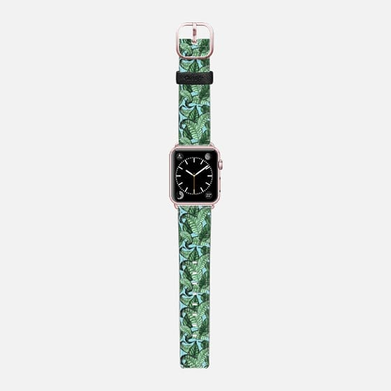 Leaves n. 1 in pale blue - Saffiano Leather Watch Band