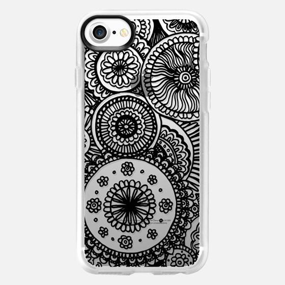 Black Circles Lace Doodle - Wallet Case