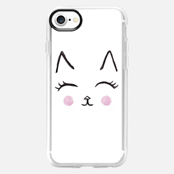 Cute Cat Face Watercolour - Wallet Case