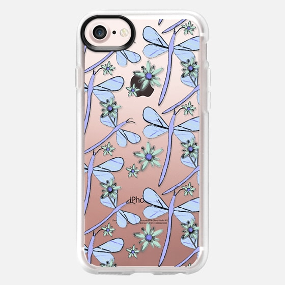 DRAGONFLIES AND FLOWERS - BLUE - Classic Grip Case