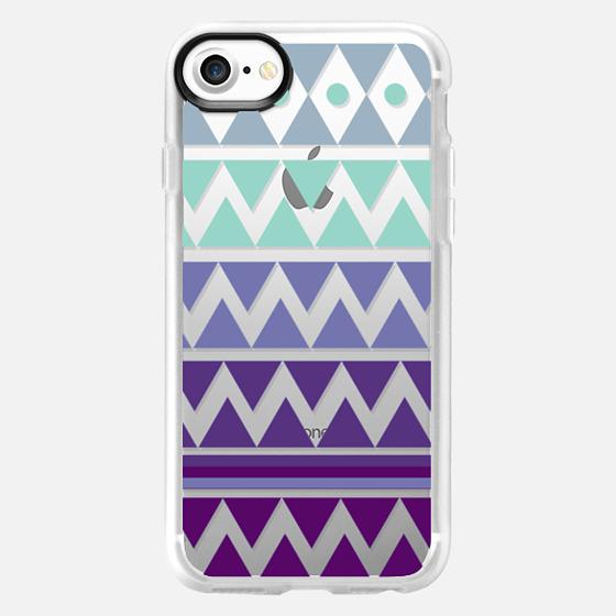PURPLE TRIBAL CHEVRON - Crystal Clear Phone Case - Wallet Case