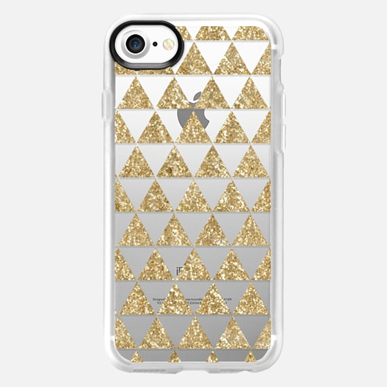 Glitter Triangles in Gold - Phone Crystal Clear Case - Wallet Case