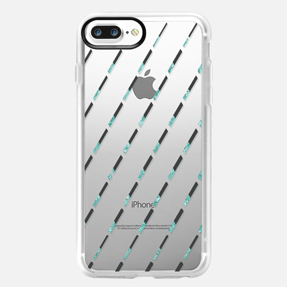 ARTDECO LINES IN TEAL - CRYSTAL CLEAR PHONE CASE -
