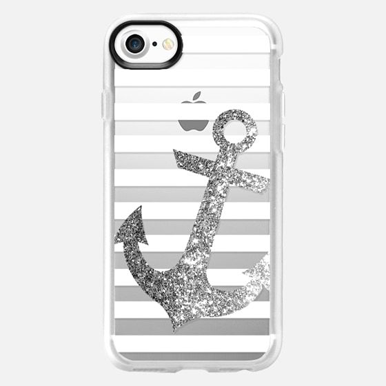 GLITTER ANCHOR IN SILVER - CRYSTAL CLEAR PHONE CASE - Wallet Case