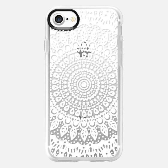 Tribal Boho Mandala in White // Crystal Clear Phone Case - Wallet Case