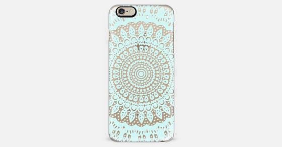 Tribal Boho Mandala in Teal // Crystal Clear Phone Case