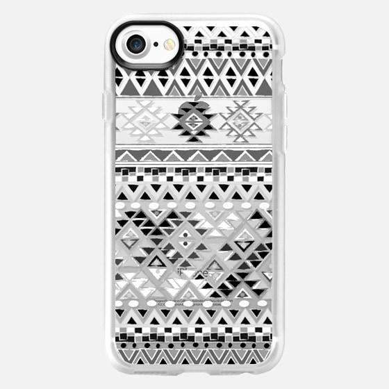 TRIBAL BOHO NATIVE - BW // CRYSTAL CLEAR PHONE CASE - Wallet Case