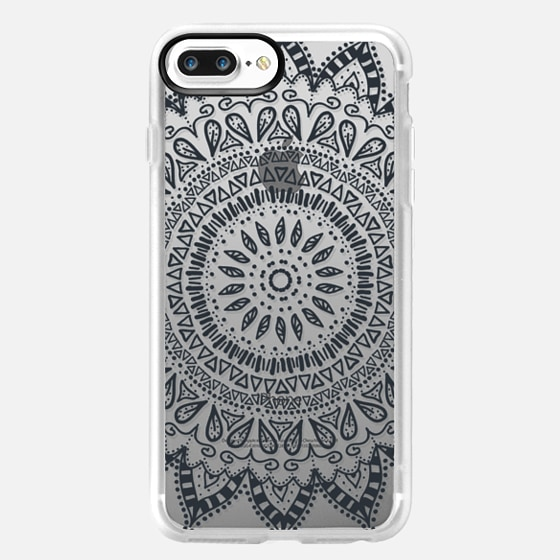 BOHEMIAN FLOWER MANDALA - CRYSTAL CLEAR PHONE CASE -