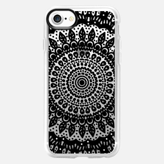 Tribal Boho Mandala in Black // Crystal Clear Phone Case -
