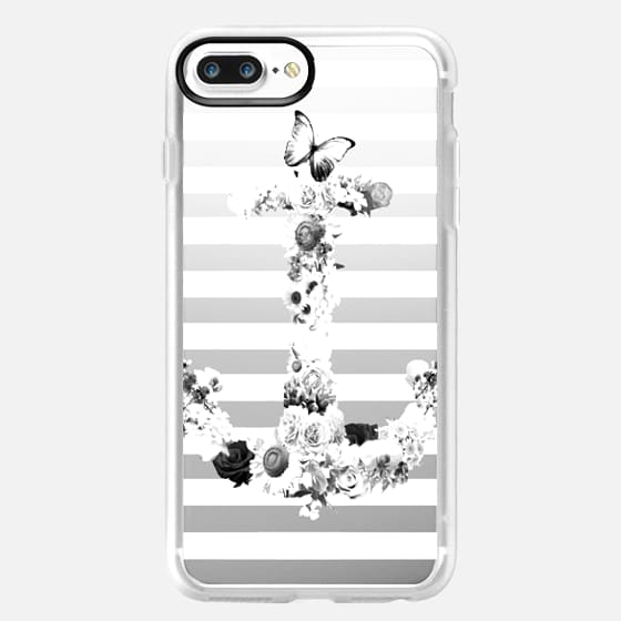 FLORAL ANCHOR IN BLACK AND WHITE- CRYSTAL CLEAR PHONE CASE -