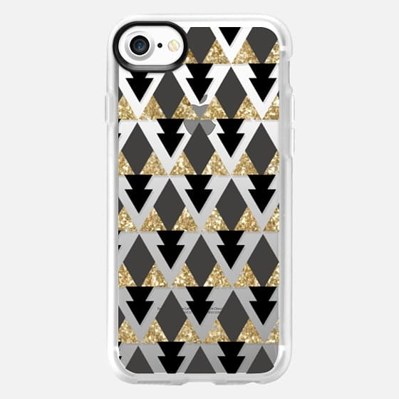 Glitter Geometric Triangles in gold and black - Phone Crystal Clear Case - Classic Grip Case