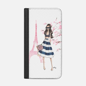 iPhone Wallet Case -  Printemps a Paris (Brunette)