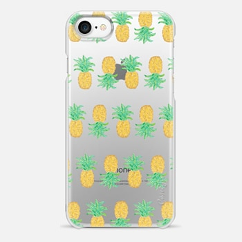 iPhone 7 Case Pineapple Stripes - Transparent/Clear Background