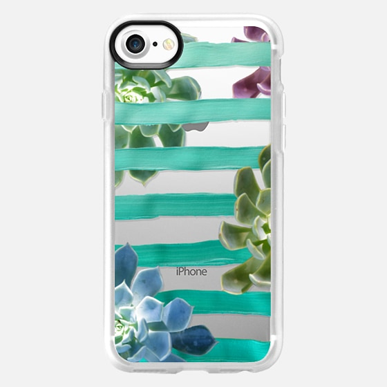 Turquoise Stripes and Succulents (Transparent) - Wallet Case