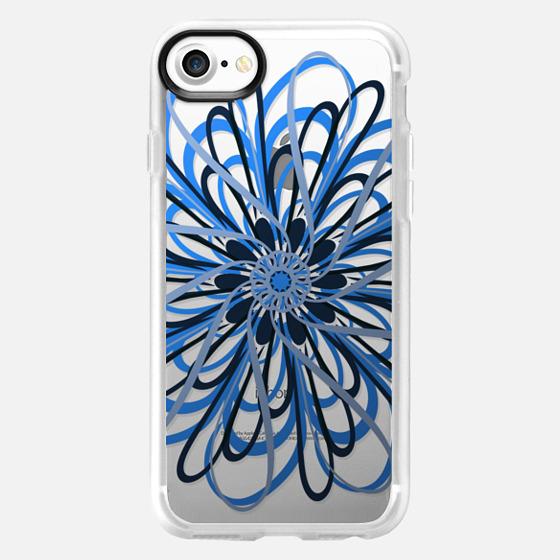 Floral Blue Swirl (transparent) - Wallet Case