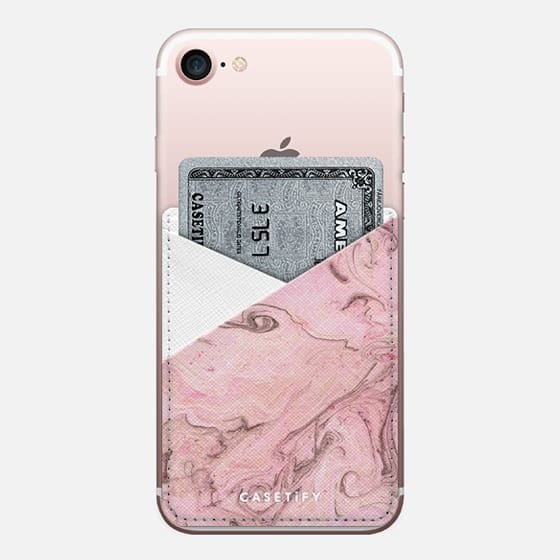 Marbly Pink - Saffiano Leather Phone Wallet