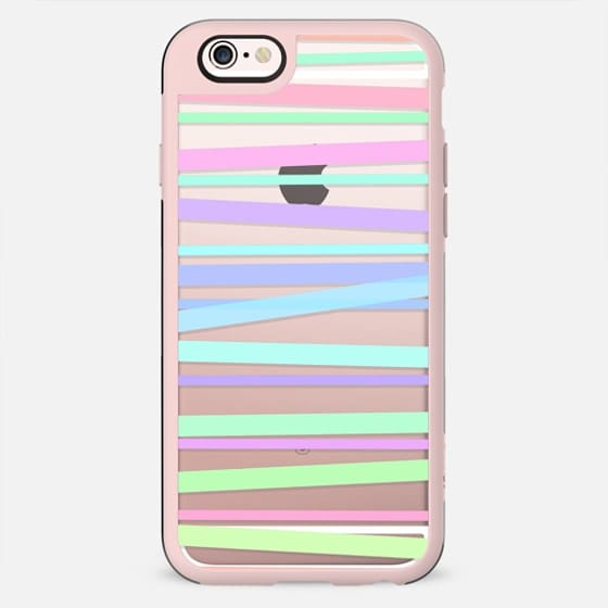 Pastel Rainbow Stripes - Transparent/Clear Background - New Standard Pastel Case