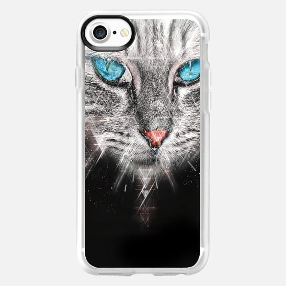 Silver Abstract Cat Face with blue Eyes -