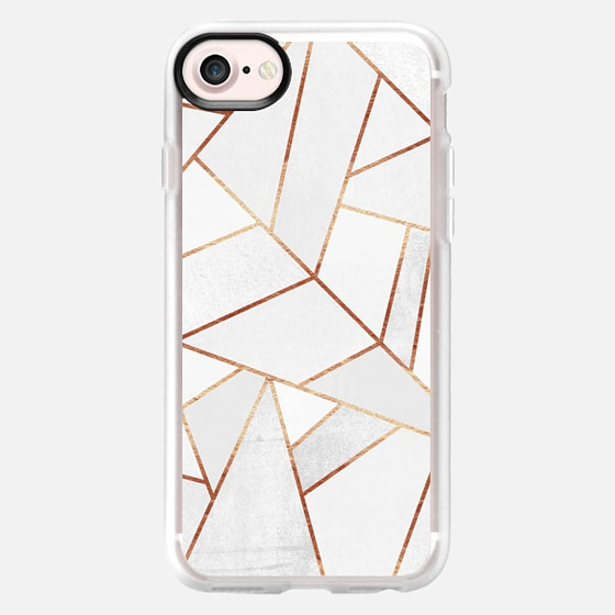 White Stone and Copper Lines - Wallet Case